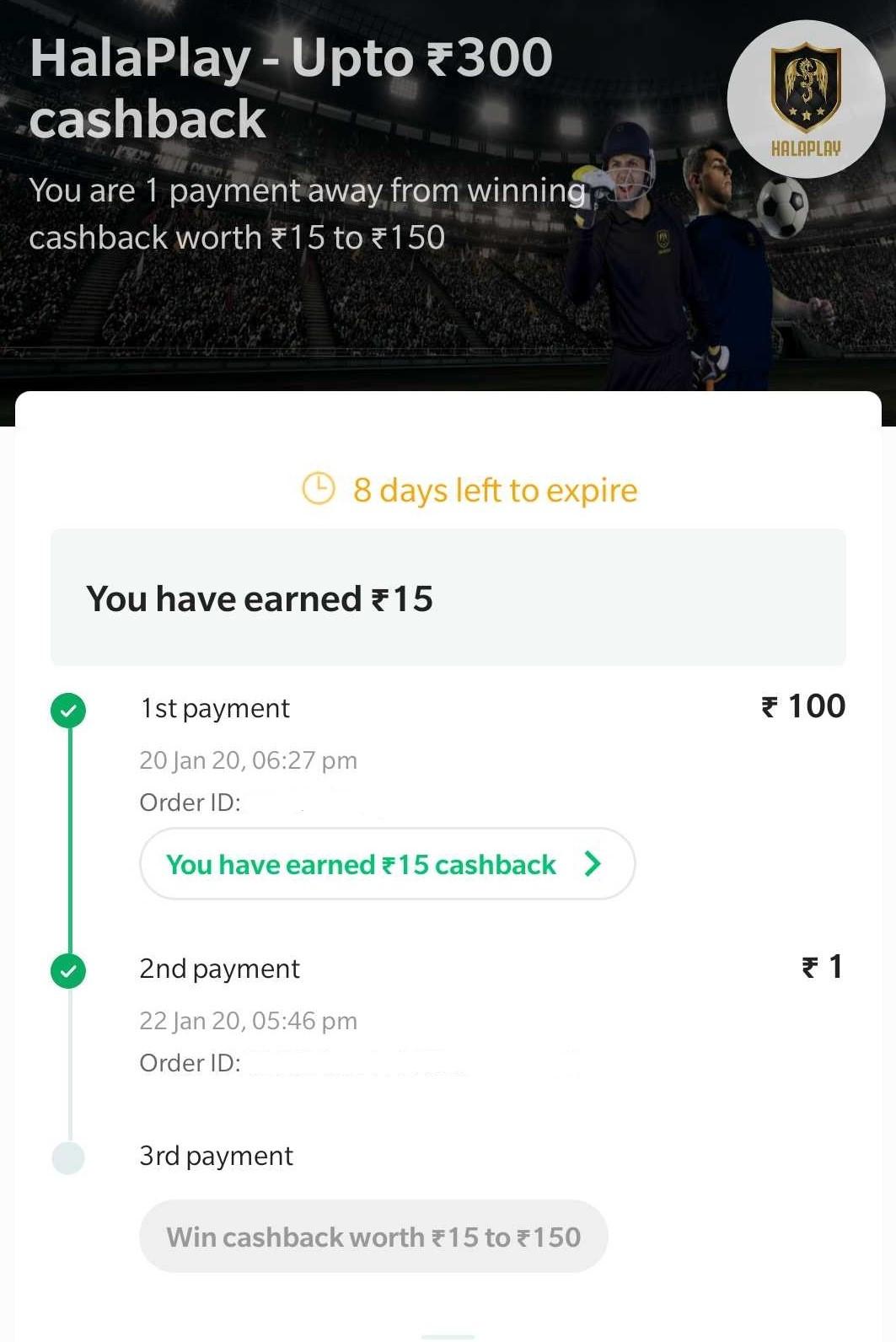 A screenshot of HalaPlay cashback offer