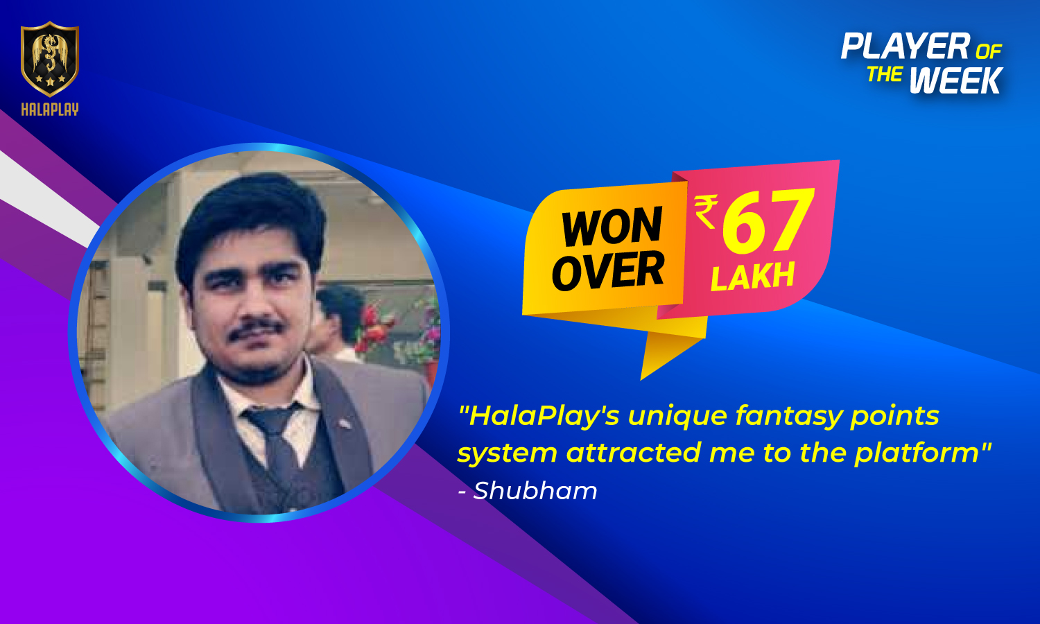 Shubham Jain - HalaPlay fantasy cricket player